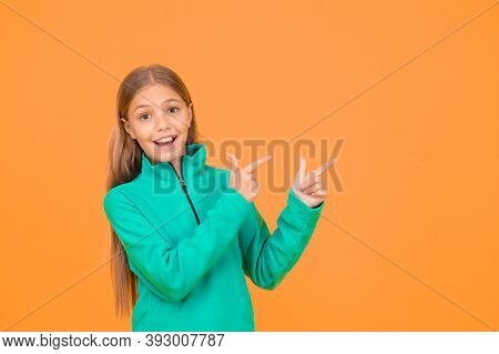 Look Here. Adorable Girl Beautiful Face. Upbringing And Education. Little Girl. Small Child Yellow B