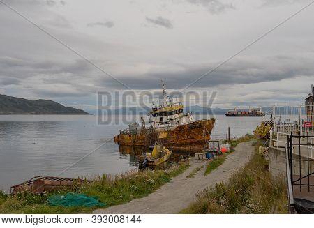Ushuaia, Argentina-february 13, 2020: Shipwreck Olivia In Ushuaia, Tierra Del Fuego Patagonia, Argen