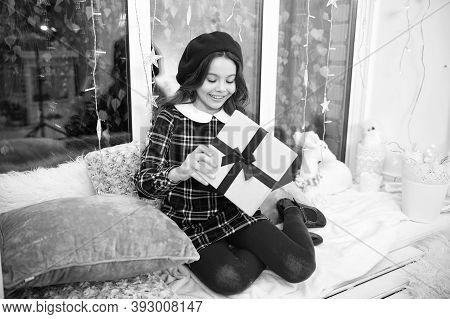 Santa Claus Gift. Little Girl Child Received Gift. Present Xmas. Happiness And Joy. Kid At Home Rela