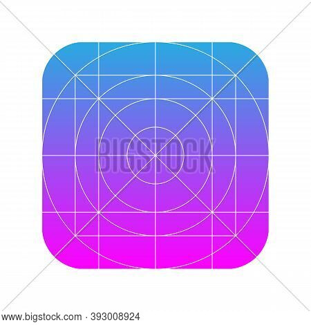 Application Icon Design Grid Template. Guidelines For Web And Mobile Logo. Vector Illustration.