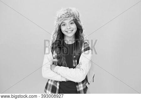Eskimo Smiling Schoolgirl Long Hair Soft Hat Enjoy Softness. Winter Season Concept. Northern Region