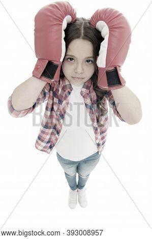 Keep Calm And Get Rid Of Headache. Beat Headache. Girl Boxing Gloves Ready Fight. Kid Strong Girl Su