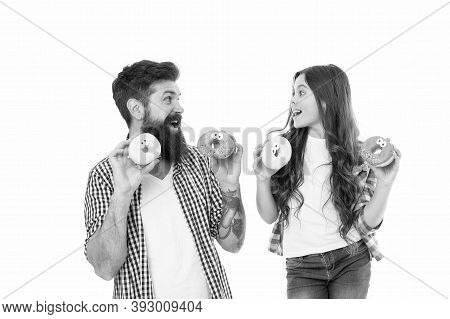 Meal For Your Sweet Tooth. Happy Family Hold Donuts. Sweet Food Lovers. Baked Meal. Snack And Meal B