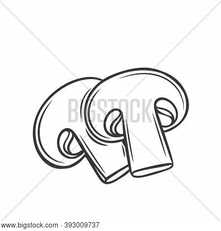 Two Appetizing Slices Of Fresh Mushroom, Vector Outline Monochrome Illustration. Pieces Of Organic F