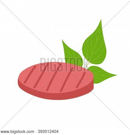 Plant Based Burger Patty And Bean Leaves Isolated On White Background. Non-meat Proteins And Vegetar