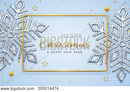 Christmas Blue Background With Shining Snowflakes, Gold Stars And Beads. Merry Christmas Greeting Ca