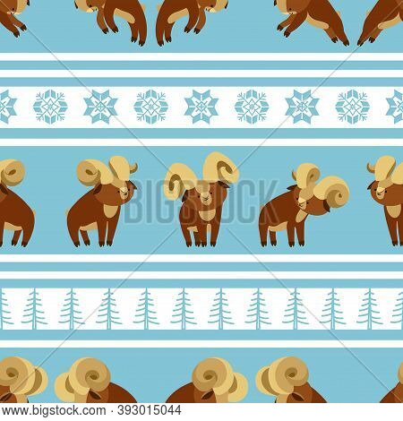 Seamless Pattern Of A Young Brown Horned Muflon Males, Cute Characters, Decorative Ornament, Color V