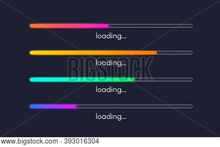Loading Bar Collection. Loading Status Set. Color Progress Icons. Gradient Lines On Dark Background.