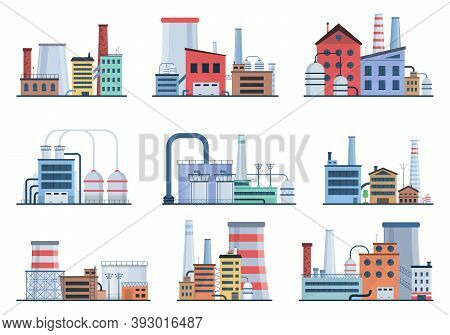 Industrial Building Concept Eco Style Factory City Landscape. Set Of Factory Style Or Industrial Bui