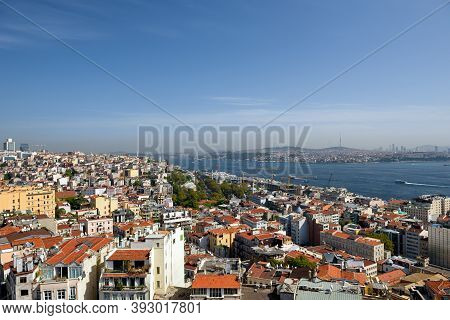 Skyline of Istanbul, as seen from Galata Tower. View of the Bosphorus Strait and Beyoglu district. City of Istanbul, Turkey.