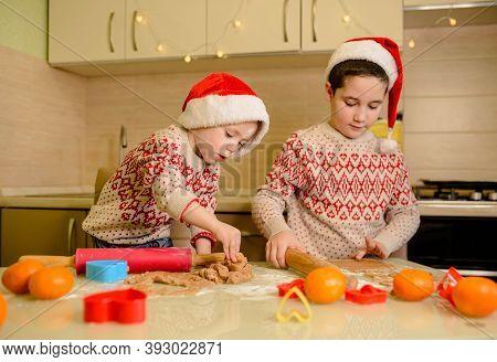 Santa Kids Making Cookie For Santa In Cozy Kitchen. Santa Chefs. Christmas Cookies. Funny Children P