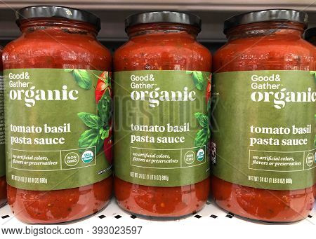 Alameda, Ca - Oct 28, 2020: Grocery Store Shelf With Jars Of Good And Gather Brand Organic Tomato Ba