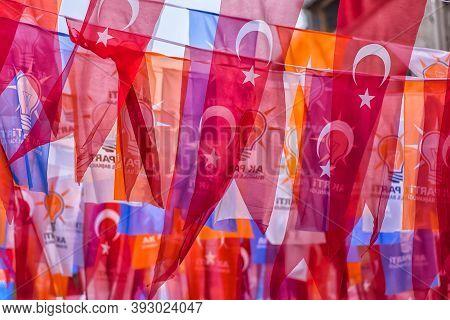 Turkey, Istanbul, 14,03,2018 Turkish Flags On The Street Of Istanbul