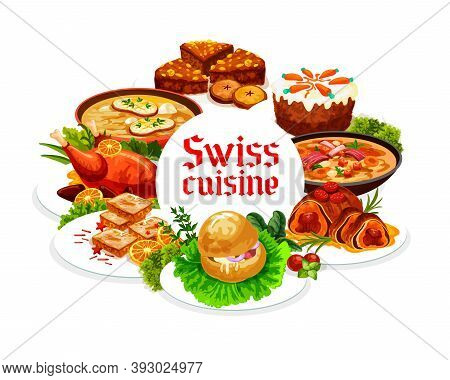 Swiss Food Cuisine Vector Gingerbread Leckerli, Chicken In Dough And Duck With Orange. Bread Cake, P