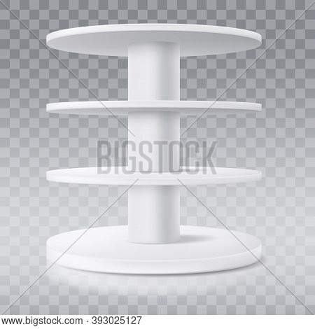 Round Shelf, Vector Shop Display Stand Or Production Rack Showcase, Isolated Realistic 3d Mockup. Su