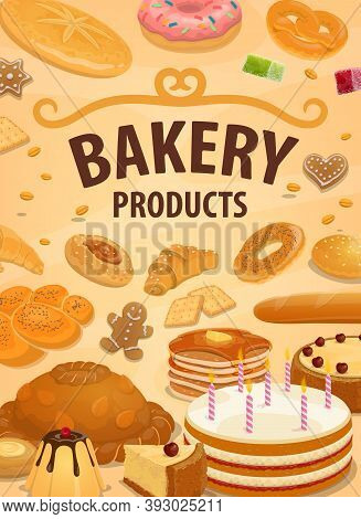 Sweet Bakery Products Vector Bread, Desserts And Pastry. Sweet Baked Food Birthday Cake With Candles