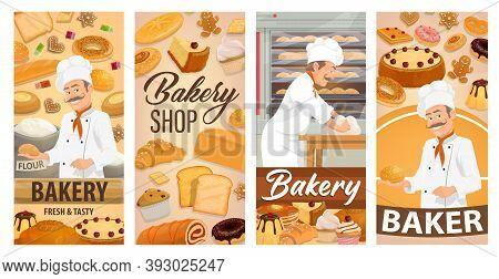 Baker Confectioner In Bakery Shop Baking Bread Vector Banners. Cartoon Chief In Toque Kneading Dough