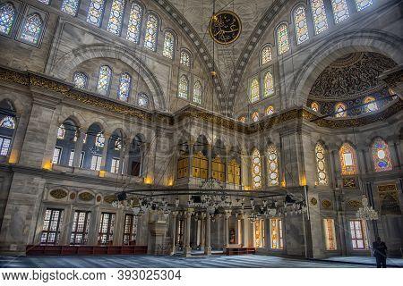 Istanbul, Turkey - 13.03.2018 : Interior Of Nuruosmaniye Mosque, Istanbul, Turkey,