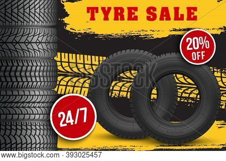 Tyre Sale Vector Store Promo Poster With 3d Tires And Grunge Black Track Tread Marks. Car Wheels For