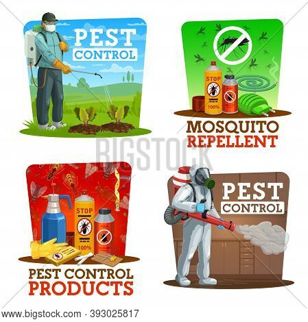 Pest Control Vector Icons, Disinsection, Insects Extermination Service At Home And Gardens. Agricult