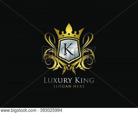 Luxury King K Letter Gold Logo, Golden K Classic Shield Crown.