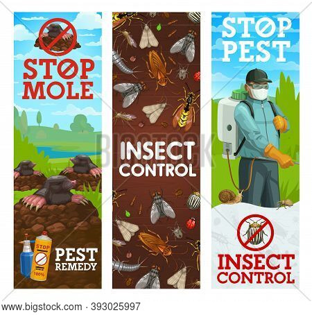 Pest Control Banners, Vector Worker Spraying Insecticide Against Insects And Rodents. Exterminator I