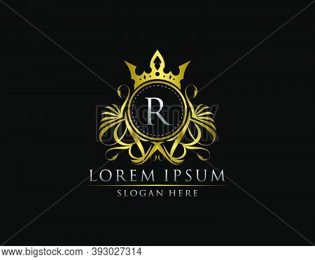 Premium Royal King R Letter Crest Gold Logo Template