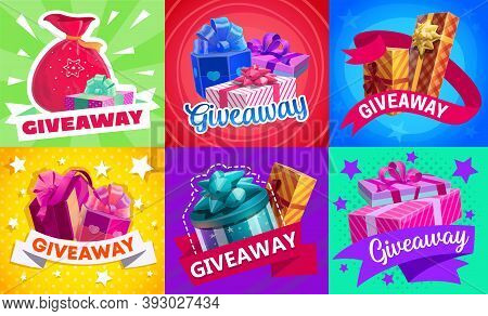 Giveaway Gift Boxes, Vector Promotion Contest And Competition Free Prizes. Holidays And Shopping Giv