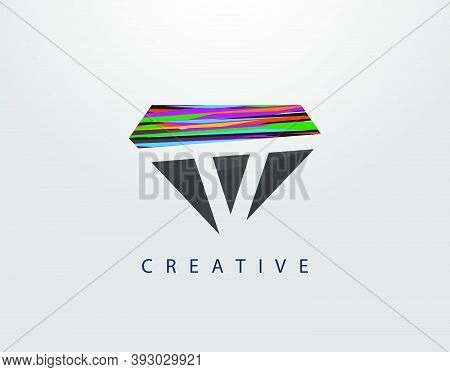 Initial V Abstract Diamond Logo. Creative V Letter Design With Colorful Strips On Diamond Shapes.