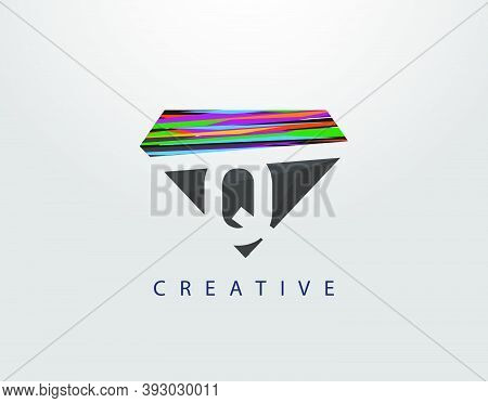 Initial Q Abstract Diamond Logo. Creative Q Letter Design With Colorful Strips On Diamond Shapes.
