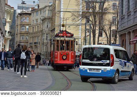Nostalgic Red Tram Of Istanbul. Historic Tram In Taksim Istiklal Street. Touristic Popular Destinati