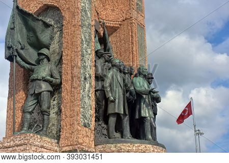 Monument Republic. The Republic Monument Is A Famous Monument Located On Taksim Square In Istanbul,