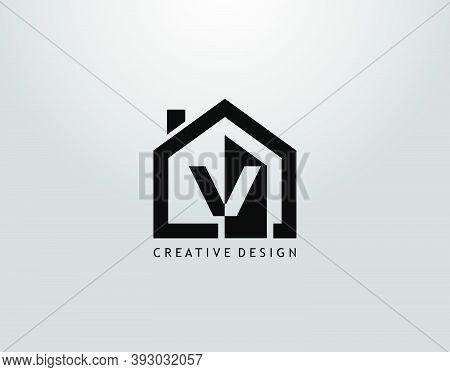 Real Estate V Letter Logo. Negative Space Of Initial V And Minimalist House Shape
