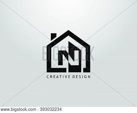 Real Estate N Letter Logo. Negative Space Of Initial N And Minimalist House Shape