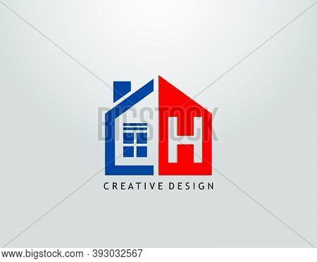 H Letter Logo. Negative Space Of Initial H With  Minimalist House Shape Icon.