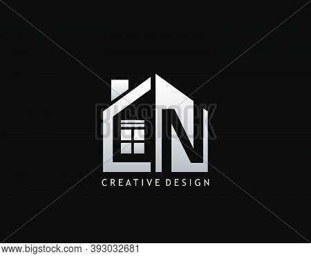 N Letter Logo. Negative Space Of Initial N With  Minimalist House Shape Icon.