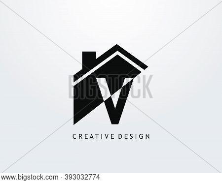 V Letter Logo. House Shape With Negative Letter H, Real Estate Architecture Construction Icon Design