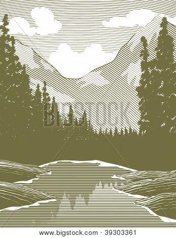 Woodcut Wilderness River Scene