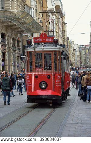 Turkey, Istanbul 20.07,2018 Nostalgic Red Tram Of Istanbul. Historic Tram In Taksim Istiklal Street.