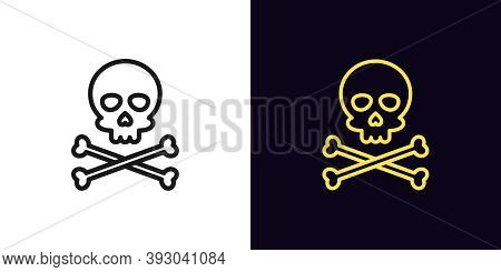 Outline Jolly Roger Icon With Editable Stroke. Linear Skull With Crossbones, Skeleton Head. Pirate F