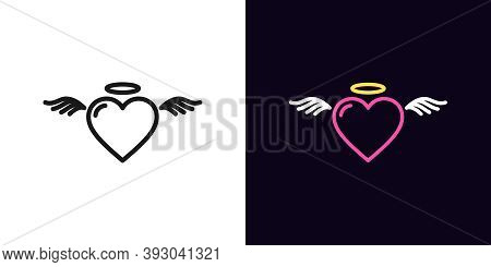 Outline Angel Heart, Icon With Editable Stroke. Linear Saint Heart With Wings And Nimbus. Flying Ang
