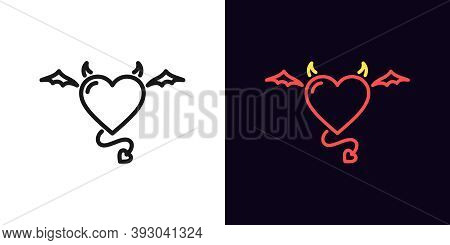 Outline Devil Heart, Icon With Editable Stroke. Linear Demon Heart With Wings, Tail And Horns. Flyin