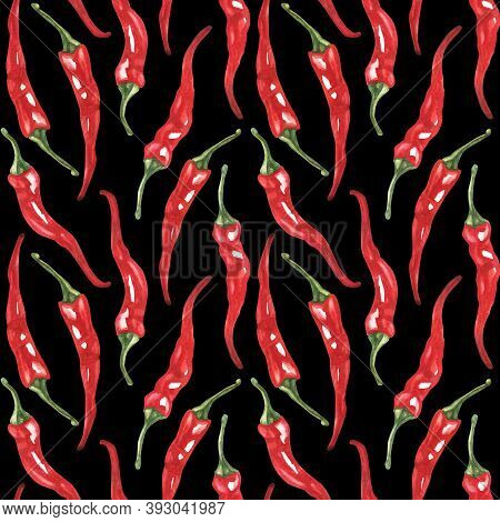 Seamless Pattern With Red Pepper, Chili Pepper. Watercolor Illustration. The Print Is Used For Wall