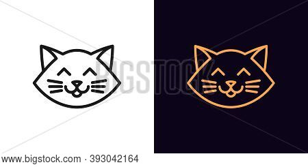 Outline Cat Head, Icon With Editable Stroke. Linear Kitten Face With Whiskers, Cute And Funny Cat Em
