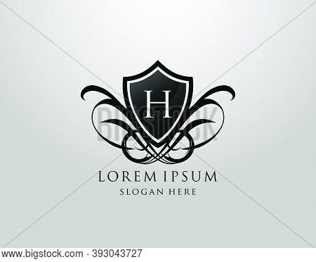 Majestic H Letter Logo. Vintage H Shield Design For Royalty, Restaurant, Automotive, Letter Stamp, B
