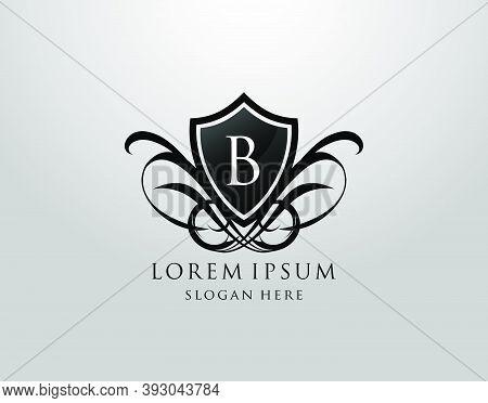 Majestic B Letter Logo. Vintage B Shield Design For Royalty, Restaurant, Automotive, Letter Stamp, B