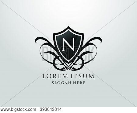 Majestic N Letter Logo. Vintage N Shield Design For Royalty, Restaurant, Automotive, Letter Stamp, B