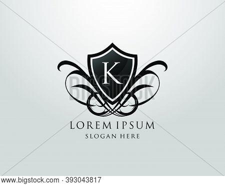 Majestic K Letter Logo. Vintage K Shield Design For Royalty, Restaurant, Automotive, Letter Stamp, B