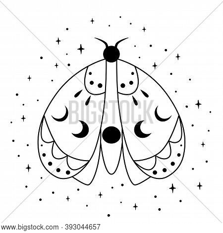 Spiritual Butterfly With Mystery Moon. Magic Element. Butterfly Coloring Page. Line Art. Esoteric Il