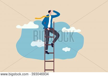 Ladder Of Success, Vision To Lead Business To Achieve Goal Or Opportunity In Career Concept, Smart C